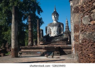 Buddha statues at Wat Mahathat ancient capital of Sukhothai, Thailand. Sukhothai Historical Park