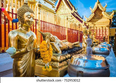 Buddha statues at Wat Phra That Doi Suthep temple in Chiang Mai, Thailand.
