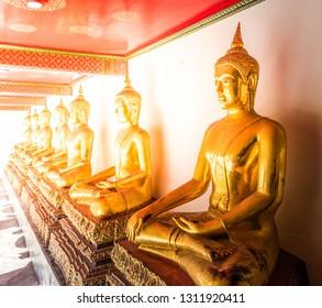 Buddha statues at Wat Po in Bangkok, Thailand.