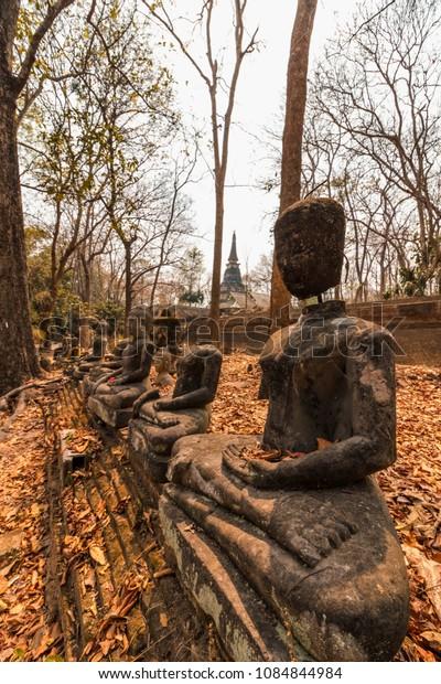 Buddha statues at Wat Umong, Thailand