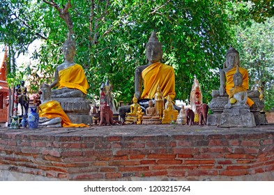 Buddha statues at Wat Yai Chai Mongkhon in Ayutthaya, Thailand
