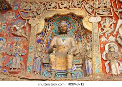 Buddha statues of Yungang Grottoes The World cultural heritage site, Famous  Buddhist Caves Art Treasure Houses  in Datong, Shanxi Province, China.
