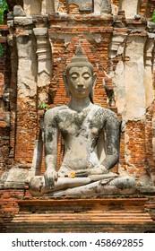 Buddha status's head from Ayutthaya ruin, Thailand