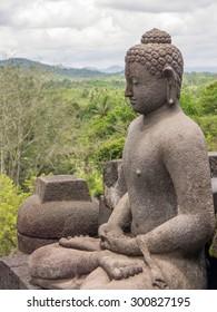 Buddha stupa at Borobudur temple near Yogyakarta on Java island, Indonesia