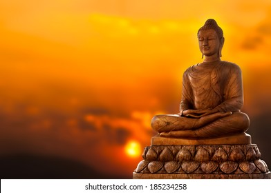 Buddha and sunset