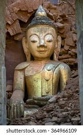 Buddha Surrounded in Bricks, Inle Lake, Myanmar