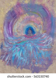The Buddha surrounded by waves and sky. A hand drawn and painted illustration of the Buddha evoking energy and action.