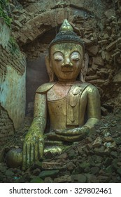 Buddha in the temple destroyed