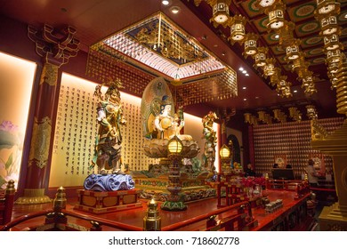 BUDDHA TOOTH RELIC TEMPLE, CHINATOWN, SINGAPORE, NOVEMBER, 2016: interior of the Buddha Tooth Relic Temple at Chinatown, Singapore