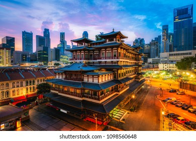 Buddha Tooth Relic Temple and Museum with dawn sunrise sky background, China town, Singapore.