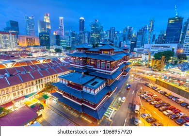 The Buddha Tooth Relic Temple in Singapore at night