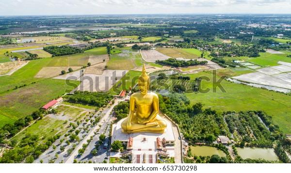 Buddha Wat Muang Temple Ang Thong Thailand Aerial