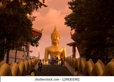 the Buddha at the Wat Phra Yai on the Buddha Hill in the city of Pattaya in the Provinz Chonburi in Thailand.  Thailand, Pattaya, November, 2018