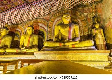 Buddha's in the cave temple complex in Dambulla, Sri Lanka