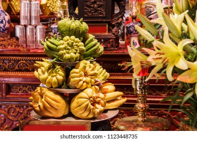 Buddha's Hand (Citrus medica var. sarcodactylus) or fingered citron, (Vietnamese - phat thu). The fruit given as religious offering in Buddhist temple, symbolize happiness, longevity and good fortune
