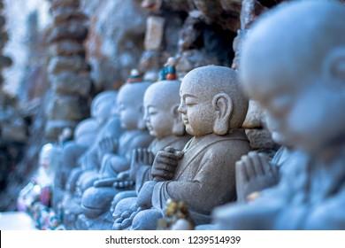 Buddhas inside the mountain Tapsa Temple in Jinan, Jeollabuk-do in South korea.
