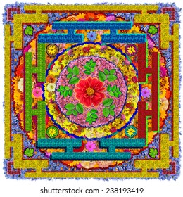 Buddha's square Mandala - spiritual and ritual symbol in  Buddhism, made  from summer flowers. Isolated abstract collage