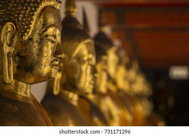 Buddhas at Wat temple in the Bangkok, Thailand