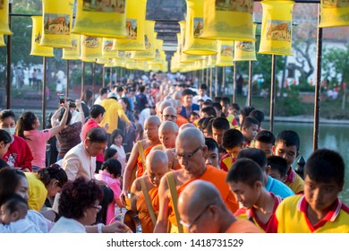 a buddhism Monk ceremony at the Loy Krathong Festival in the Historical Park in Sukhothai in the Provinz Sukhothai in Thailand.   Thailand, Sukhothai, November, 2018