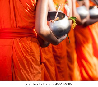 Buddhism monks alms bowl flower is festival and culture of Saraburi people in Thailand.