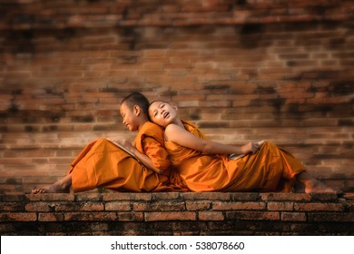 Buddhism novices are relaxing after classroom.