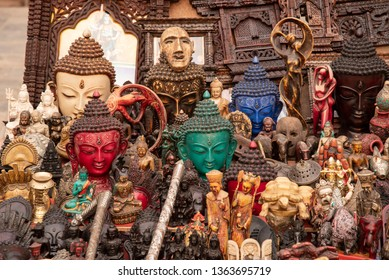 Buddhist artefacts for sale at a shop in Kathmandu, Nepal.