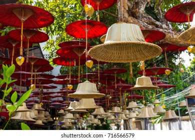 Buddhist bells hanging street art decoration in Chiang Mai, Thailand.