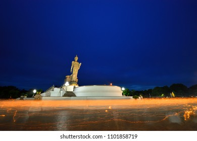 Buddhist ceremony where people walk with lighted candles in hand around a temple in Magha Puja Day. 29 May 2018, Phuttamonthon Soi 4 RD., Salaya, Nakhon Pathom, Thailand.