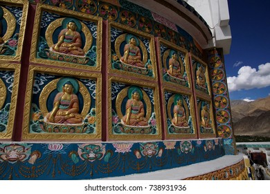 Buddhist decorations on Shanti Stupa ,Leh, Ladakh, India