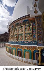 Buddhist decorations on Shanti Stupa