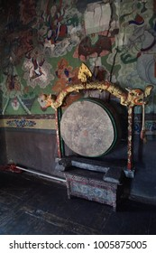 Buddhist drum used in prayer services, Lamayuru gompa monastery, Ladakh, India