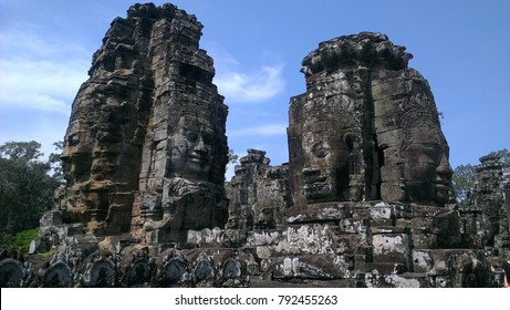 Buddhist faces on towers at Bayon Temple, Angkor Thom, Combodia