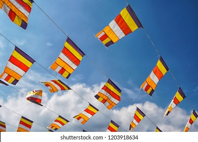 Buddhist Flag with blue sky