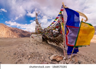 Buddhist Flags flying over Tanglangla Pass, Ladakh, India