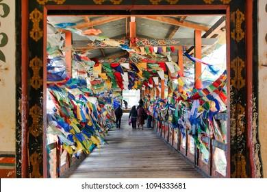 Buddhist Flags and Monastery in Thimpu, Bhutan