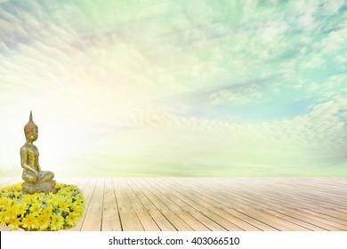 Buddhist flower Songkran Festival on wooden floor with sky