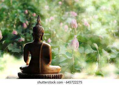 buddhist holy day , Visakha Puja Day , Buddha statue , lotus flower with double exposure