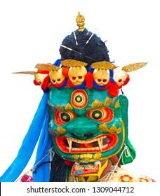 Buddhist Holy mask isolated against white background
