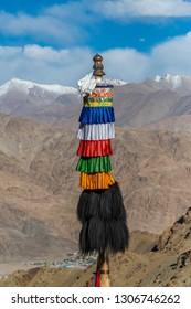 Buddhist holy pole at Hemis Gompa, Ladakh, India