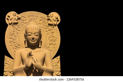 Buddhist image, Pang, Sermon relative Sandstone Buddha image carved with black space on the left and right- Image