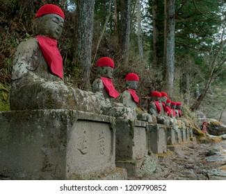 Buddhist Jizo statue monks, praying