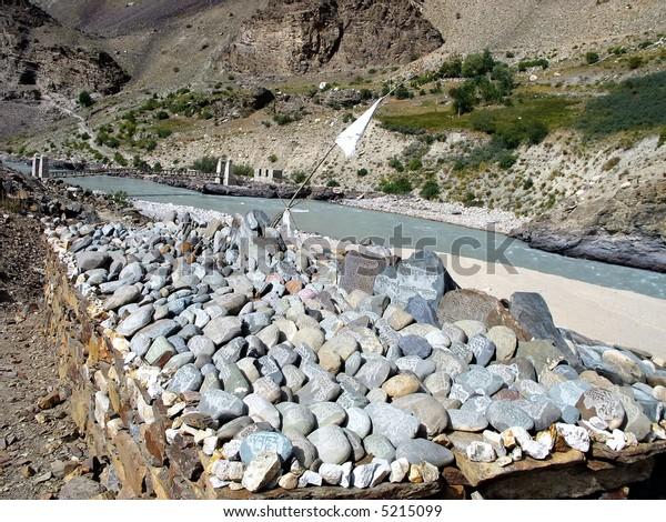 Buddhist mani stones, Zanskar valley, Ladakh, India.