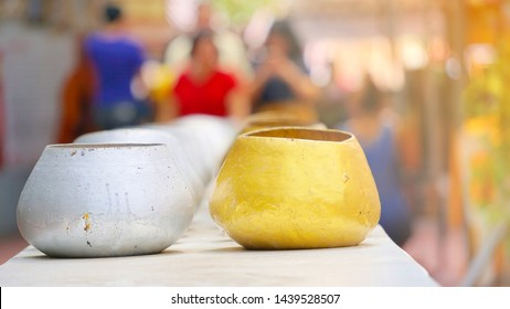 Buddhist merit making by giving alms to Buddhist important days, Blur background of Buddhist merit making on Buddhist Lent Day.