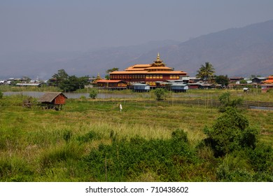 Buddhist monastery amid the floating gardens on  Inle Lake,  Myanmar (Burma)