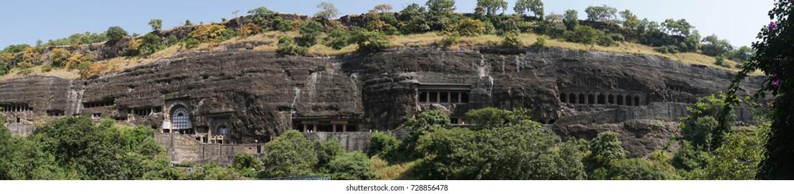 Buddhist monastery caves at  Ajanta, Maharashta, Indiaat  Ajanta, Maharashta, India