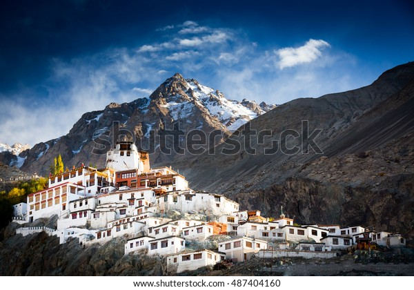 The Buddhist monastery of Diskit in Nubra valley in the Indian Himalaya. Diskit, Ladakh, India