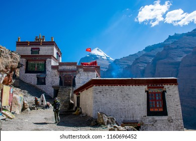 The Buddhist monastery during the ritual kora (yatra) around sacred Mount Kailash. Ngari scenery in West Tibet. Sacred place for Buddha pupils. Place of prayer, calm, pilgrimage and meditation.