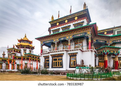 A buddhist monastery in its full golden and red glory, situated in Bir, Himachal Pradesh