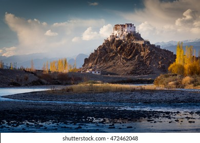 The Buddhist monastery of Stakna above Indus river in the Indian Himalaya in late autumn. Stakna, Ladakh, India