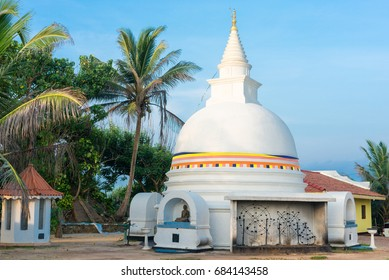 The Buddhist monastery and temple Wella Devalaya in Unawatuna. Situated on the top of the Hill at the end of the beach. Devol is one of the twelve deities worshiped in Sri Lanka as Dolos Deviyo